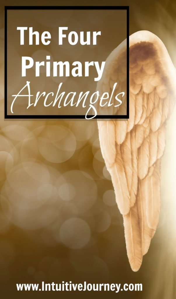 The four primary archangels pinterest pin.  Pic with angel wing.