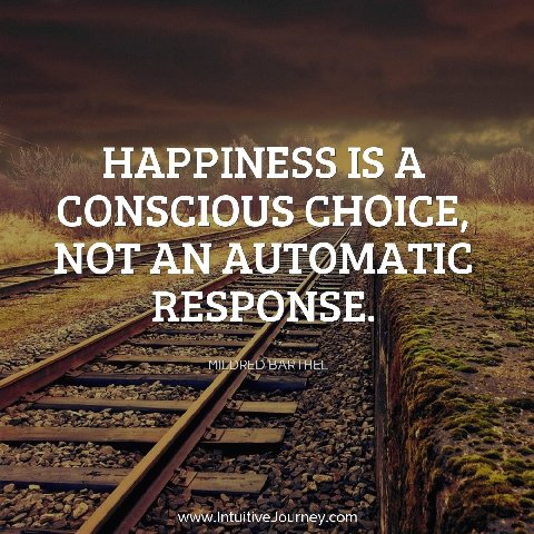 Happiness is a conscious choice, not an automatic response.  ~Mildred Barthel