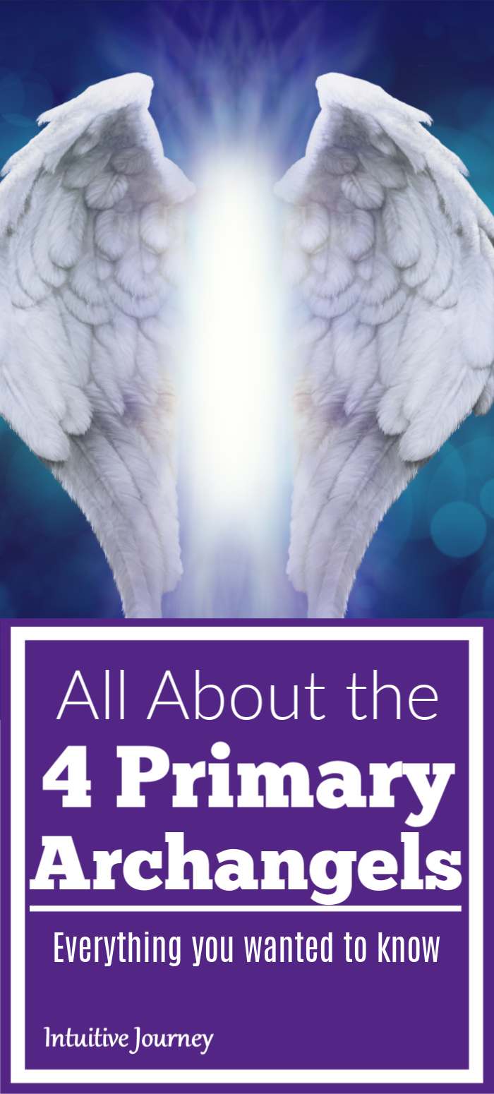 Purple pin image with angel wings and words All About the 4 Primary Archangels Everything You Wanted to Know