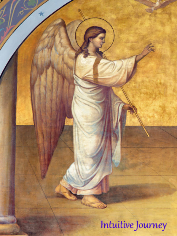 Archangel Gabriel walking with one hand held out