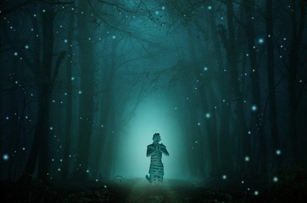 woman praying forest in presense of fireflies. spiritual meaning of fireflies 2