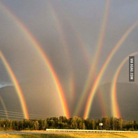 A beautiful Picture Of Double Rainbow